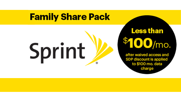 Get the Sprint Family Share Pack for Only $82/mo.
